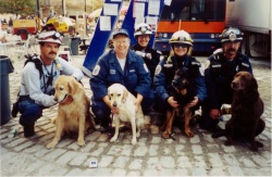 Dr. Otto with canine and human members of the Pennsylvania Urban Search and Rescue team