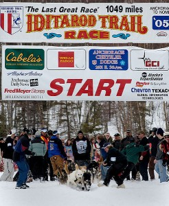 Musher Thomas Knolmayer and his team start on their 1,000-mile Iditarod trek in 2005.