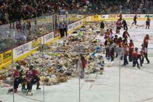 Teddy bears gathered in Calgary again this year, as they have for the past 16 years, for the annual Teddy Bear Toss.